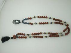 "Amazon.com: 108 + 1 Beads Crystal Hematite Rudraksha Japamala - Stone for the Mind ""Tarini Jewels"": Tarini Jewels: Jewelry"