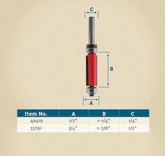 Freud Top and Bottom Bearing Flush Trim Router Bits | Rockler Woodworking & Hardware