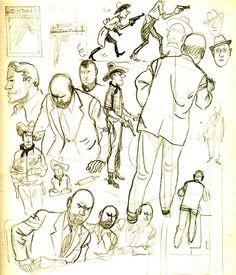 Hergé raw drawings.