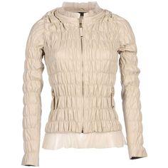Twin-set Simona Barbieri Jacket ($160) ❤ liked on Polyvore featuring outerwear, jackets, beige, logo jackets, long sleeve jacket, pocket jacket, pink jacket and multi pocket jacket