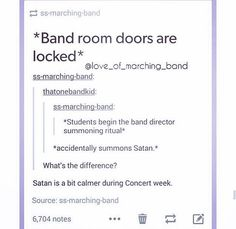 *satan sits to watch the concert* *after concert* satan: you guys were actually . - *satan sits to watch the concert* *after concert* satan: you guys were actually . Funny Band Memes, Marching Band Memes, Band Jokes, Funny Quotes, Funny Tweets, Band Nerd, Music Jokes, Music Humor, My Tumblr