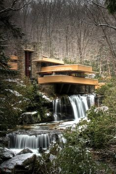 I remember this being shown to us in fifth grade art. Frank Lloyd wright?, Falling water In Pennsylvania.