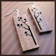 laser cut wood earrings.