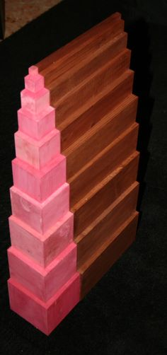 Montessori pink tower and brown stair extensions