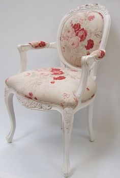 Upholstered french chair...oooo I have a bolt of this Waverly fabric and a similar chair! I'm going to do this!