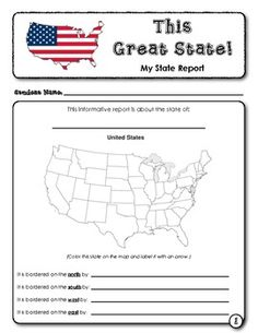 Student Report Template:  This Great State!  (6 pages) $