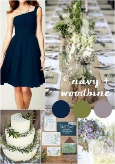 A rustic and sophisticated navy blue and green wedding color palette.