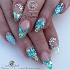 """Mermaid Nails Sculptured Acrylic with @glitter_heaven_australia Heart of the ocean Glitter, @glittergasm71 Silver Fine/Chunky Glitter, Rapids Glitter…"""