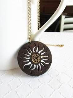 Sunburst Necklace, Wood Pendant Necklace, Inlay Jewelry, Modern Jewelry, 5th Anniversary Ideas, Sun Pendant, Fashion Jewelry, Gold Filled by wearablewoodjewels on Etsy