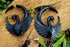 fake gauge earrings, Organic ,Black Horn Earrings  ,Gauges Sprial ,tribal style, #TribalShack
