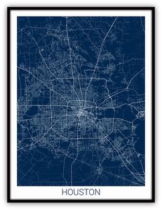 Houston, Texas City Map Print / Houston Street Map Art - Houston Line Art - Custom Map Poster.    If you love Houston, this is the perfect addition to