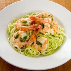 This quick and easy garlic roasted shrimp with zucchini pasta recipe is a great weeknight paleo dinner — you can have it on the table in 20 minutes. How To Cook Pasta, Garlic Shrimp, Shrimp Pasta, Roasted Shrimp, Roasted Garlic, Garlic Pasta, Rice Pasta, Garlic Minced, Pasta Bake