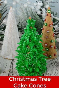 Christmas Tree Cake Cones are filled with cake and frosting and then festively decorated and a fun holiday activity for kids.