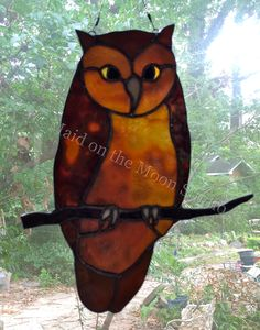 """""""Eastern Screech Owl"""" stained glass hanging - Maid on the Moon Studio"""