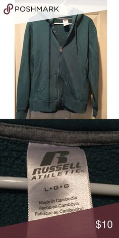LARGE RUSSELL BLUE GREEN HOODIE POCKETS LARGE RUSSELL BLUE GREEN HOODIE POCKETS Jackets & Coats