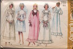 simplicity+evening+dress+pattern+1970s | Simplicity 9608 c Vintage 1970s Retro Prairie Wedding Dress Pattern ...