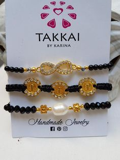 3 Set Black Arm Candy, Infinity, St Benedict, Pearl and Daisy. Set of 3 black/infinity/San Benito bracelets, pearl and flower. Boho Style.  Material: Tibetan beads, crystal beads and gold veneer  Colors: black, gold and pearl  Sizes  Small 17 Cm  Medium 19 Cm  Large 21 Cm Please choose