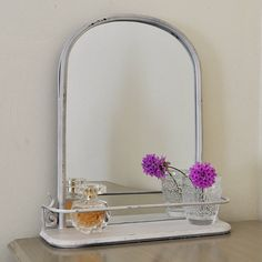 Cream Mirror With Decorative Shelf