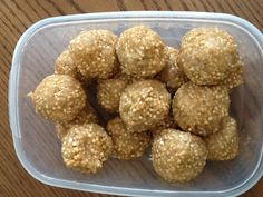 Quinoa Puffs balls!  Great healthy snack  Combine 1 cup of peanut butter (I used natural), 3 tablespoons of honey, and 1 medium apple peeled and shredded.  Add 2 cups of puffed quinoa, 1/2 cup coconut , and add oats until you get the right consistency (not too sticky) Refrigerate for an hour then roll into balls!  Enjoy,