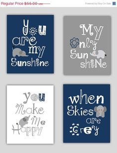 SALE Elephant Art, You are my sunshine Navy Blue and Gray Art Prints, 4-8x10 prints, Matches Boy or Girl Nursery, nursery, or playroom