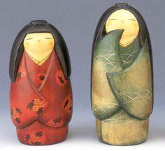 Японские деревянные куклы Кокэси (кокеши)