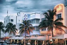 size: Photographic Print: Colorful Ocean Drive - South Beach - Miami Beach Art Deco Distric - Florida by Philippe Hugonnard : Morning Sky, South Beach Miami, Ocean Drive, Unique Image, Arts And Crafts Movement, Blue Art, Fine Art Photography, Scenery, Art Deco