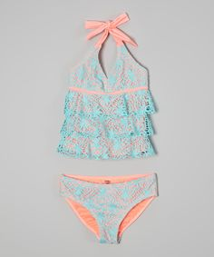 Look at this Kensie Girl Aqua Crocheted Ruffle Tankini - Girls on #zulily today!