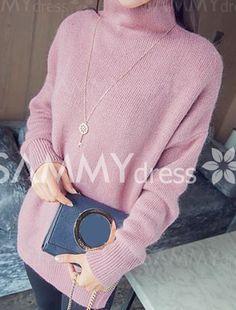 Stylish Women's Turtleneck High Low Hem Long Sleeve Sweater