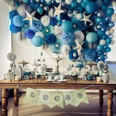 christening decoration for breathtaking boy - Baby Shower Decor Baby Boy Baptism, Baptism Party, Baby Boy Birthday, Baby Party, Christening Themes, Baptism Themes, Baby Christening, Baptism Ideas, Boy Baby Shower Themes