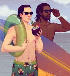 Loki and are chilling on a beach somewhere sharing the tea on Thanos or Thor etc. Answer: Like this, but if Heimdall were also Loki. Thor Y Loki, Loki Art, Loki Marvel, Marvel Funny, Marvel Memes, The Avengers, Avengers Fan Art, Marvel Fan Art, Marvel Dc Comics