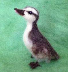 Needle Felted Duckling brown and yellow by ClaudiaMarieFelt