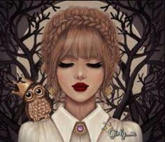 owl, drawing, and girly_m image Girly M Instagram, Sarra Art, Cute Girl Drawing, Drawing Girls, Girly Drawings, Girl M, Girl Hair, Digital Art Girl, Girly Pictures