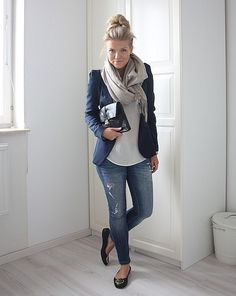 navy blazer, white top, scarf, jeans and flats.