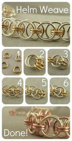 Chainmaille Helm Instructions Close 4 small jumprings Add 2 larger rings Separate small rings and add 1 large ring Add second large ring Link 1 large ring to one side and add 2 small rings Add one more large ring on other side and repeat to Jewelry Wire Wrapped Jewelry, Wire Jewelry, Jewelry Crafts, Beaded Jewelry, Handmade Jewelry, Jewelry Ideas, Jewelry Holder, Crystal Jewelry, Personalised Jewellery