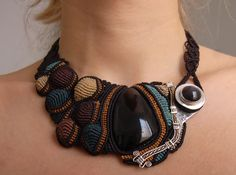 Necklace | Martin and Ugne of ARUMIdesign.  Handmade macrame and sterling silver necklace with 2 beautiful rainbow obsidian semiprecious stones
