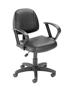 Fabric Office Chair In Black w Loop Arms, Lumbar Support & Adjustable Height