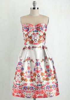 Mirror to My Heart Dress by Chi Chi London - Short, Satin, Multi, White, Floral, Print, Special Occasion, Prom, Fit & Flare, Strapless, Pockets, Wedding, Bridesmaid, Sweetheart