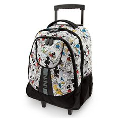 Mickey Mouse Comic Strip Rolling Backpack - roll it OR tote it with its cute, little backpack straps #Disney Mickey Mouse Luggage, Disney Luggage, Mickey Mouse Backpack, Disney Mickey Mouse, Minnie Mouse, Disney Handbags, Disney Purse, Girls Rolling Backpack, Little Backpacks