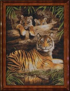 Quiet Fire kit by Bucilla - just think this one is really pretty and love the tiger stripes reflected in the water Cross Stitch Animals, Tiger Stripes, Counted Cross Stitch Kits, Tiger Print, Big Cats, Cross Stitching, Cross Stitch Patterns, Embroidery, Perler