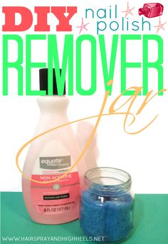 DIY Nail Polish Remover Jar via www.hairsprayandhighheels.com #diy #diybeauty #nails