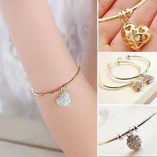 Womens Bracelet Wristband Crystal Rhinestone Heart Cuff Bangle Silver/Gold WFAU