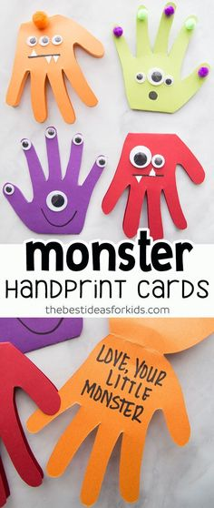 Monster Handprint Cards--perfect for Father's Day! These monster handprint cards are perfect to make for Father's Day, birthday cards or even as a Halloween craft. Kids of all ages can make these cute Monster Handprints! Daycare Crafts, Baby Crafts, Toddler Crafts, Preschool Crafts, Diy Crafts For Kids, Fun Crafts, Craft Kids, Kids Fun, Children Crafts