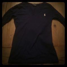 Ralph Lauren sport polo shirt Navy blue with white logo. Great shirt! Ralph Lauren Tops Tees - Long Sleeve