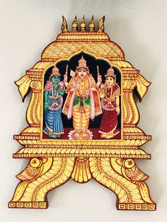 Excited to share the latest addition to my shop: Home decor Tanjore painting wood wall panels - lord Murugan indian divine gift painting murugar with valli devayani Mysore Painting, Kerala Mural Painting, Tanjore Painting, Painting On Wood, Wooden Wall Panels, Wood Panel Walls, Wooden Walls, Home Decor Hooks, Unique Home Decor