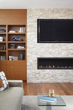 basement trendy linear fireplace - Google Search