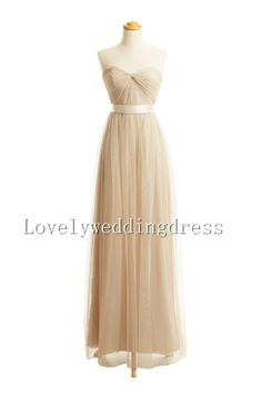 Strap  Beadings Empire Ruffles Sweetheart Train Long Chiffon Dress Long champagne Bridesmaid Dress Prom Dress Evening Dress Party Dress on Etsy, $98.00