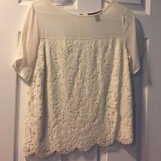 sale! BR  monogram ivory and  lace .Size XS Darling banana republic top. Ivory sheer top with lace . Could be dressed up for date night with jeans and heels or slacks for office . Tags removed but new . It didn't fit me so my loss is your gain. It's beautiful. Banana Republic Tops