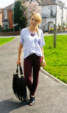 claret trousers  fringed black bag   peep toe booties   claret necklace  Outfit details on the blog.#fashionblogger #chicandcheap