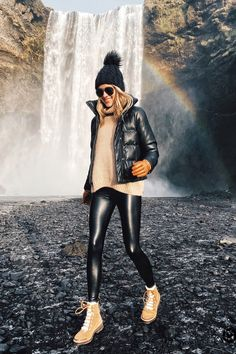 Fashion Jackson Wearing Black Puffer Jacket Black Faux Leather Leggings Winter B. - - Fashion Jackson Wearing Black Puffer Jacket Black Faux Leather Leggings Winter Boots Black Beanie Outfit Skogafoss Waterfall Iceland Itinerary Source by diaryofaTOgirl Leggings Outfit Winter, Beanie Outfit, Legging Outfits, Leather Leggings Outfit, Faux Leather Leggings, Sweater Outfits, Snow Boots Outfit, Leggings Fashion, Skirt Outfits