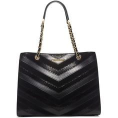 Michael Michael Kors Susannah Mixed Leather Large Tote ($448) ❤ liked on Polyvore featuring bags, handbags, tote bags, black, black tote bag, chevron tote, structured tote, leather handbags and black leather purse
